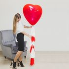 "Воздушный шар ""Сердце"", 24"", тассел лента, открытка - фото 150071644"