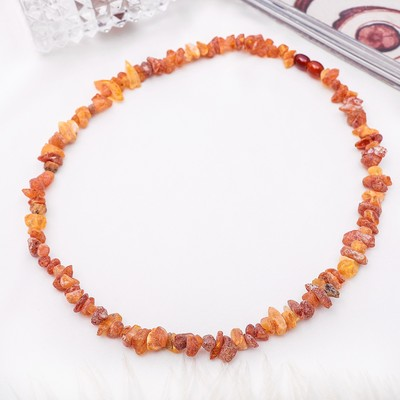 "Beads ""amber raw"" small, color cognac, 45 cm"