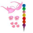 "Набор для девочки ""Гламур"", 8 предметов: очки, 2 резинки, 4 зажима, карандаш"