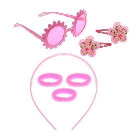 Набор для девочки 'Цветок', 7 предметов: очки, ободок, 3 резинки, 2 зажима Ош