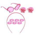 """Набор для девочки """"Бабочка"""", 10 предметов: очки, ободок, 8 резинок"""