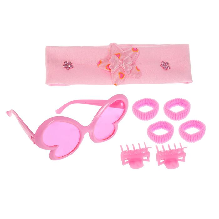"Набор для девочки ""Бабочка"", 8 предметов: очки, повязка, 2 зажима, 4 резинки"