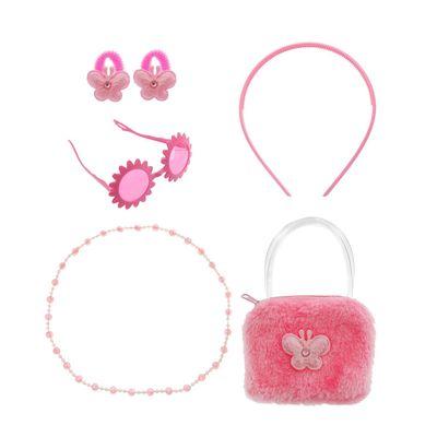 """Набор для девочки """"Модница"""", 6 предметов: очки, ободок, 2 резинки, бусы, сумка"""