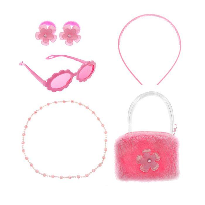 "Набор для девочки ""Цветок"", 6 предметов: очки, ободок, 2 резинки, бусы, сумка"