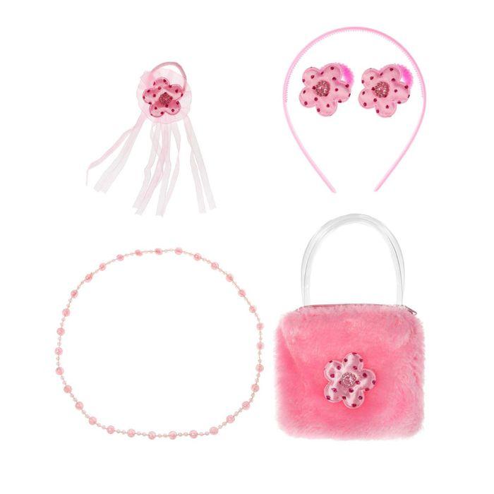 """Набор для девочки """"Цветочек"""", 6 предметов: бусы, сумка, ободок, 3 резинки"""