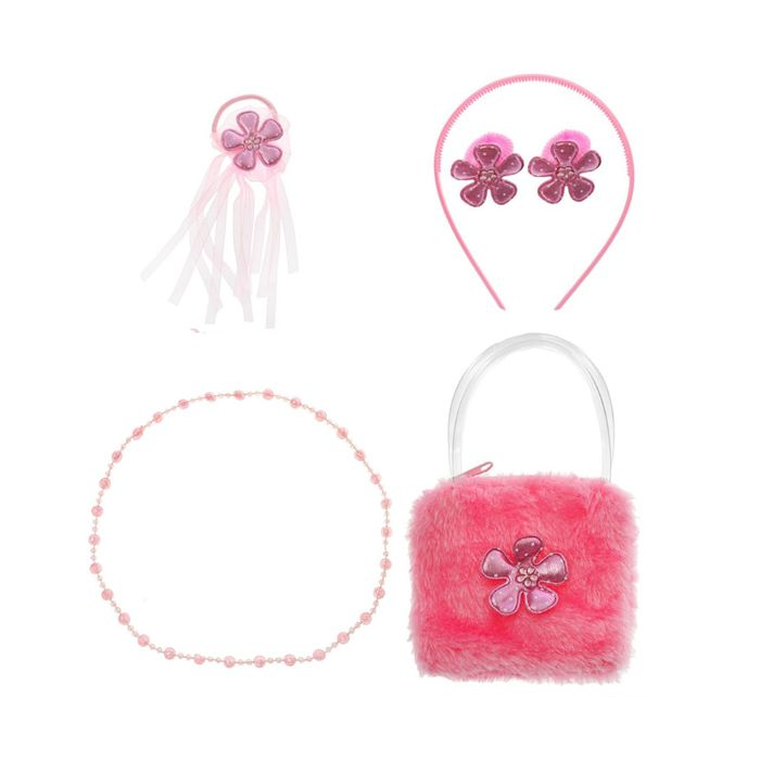"""Набор для девочки """"Красотка"""", 6 предметов: бусы, сумка, ободок, 3 резинки"""