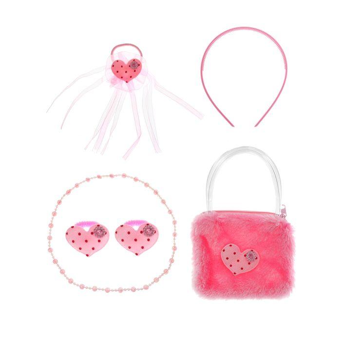 "Набор для девочки ""Сердечки"", 6 предметов: бусы, сумка, ободок, 3 резинки"