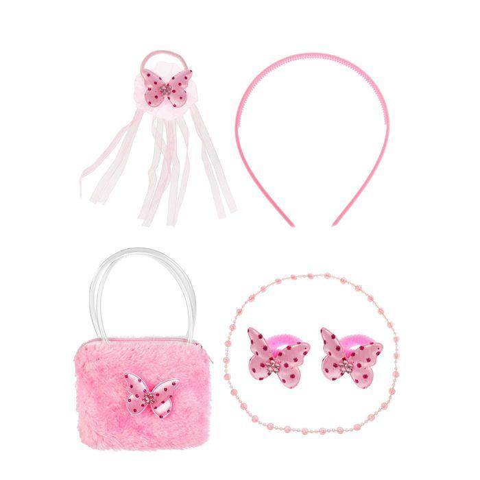 """Набор для девочки """"Бабочка"""", 6 предметов: бусы, сумка, ободок, 3 резинки"""