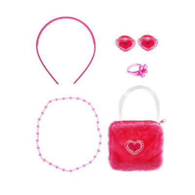 "Набор для девочки ""Сердечки"", 6 предметов: сумка, ободок, 2 резинки, бусы, кольцо"