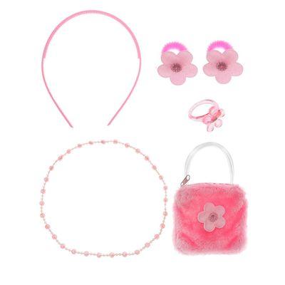 """Набор для девочки """"Цветочки"""", 6 предметов: сумка, ободок, 2 резинки, бусы, кольцо"""