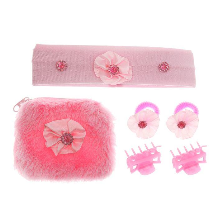 """Набор для девочки """"Маленькая модница"""", кошелёк, повязка, 2 краба, 2 резинки"""