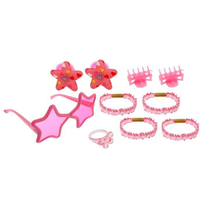 """Набор для девочки """"Звёздочка"""", 10 предметов: кольцо, очки, 2 краба, 6 резинок"""