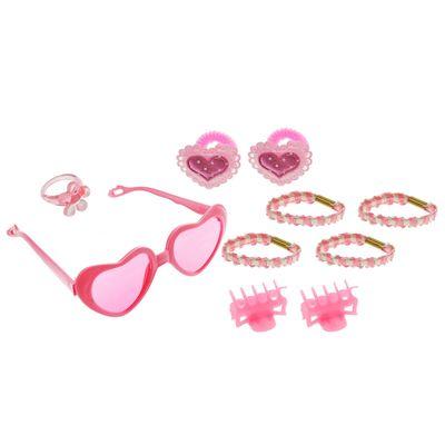 """Набор для девочки """"Сердечки"""", 10 предметов: кольцо, очки, 2 краба, 6 резинок"""