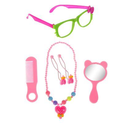 """Набор для девочки """"Кокетка"""", 6 предметов: зеркало, расчёска, бусы, 2 резинки, очки"""