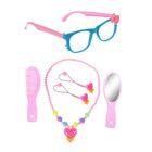 """Набор для девочки """"Модница"""", 6 предметов: зеркало, расчёска, очки, бусы, 2 резинки, цвета МИКС"""