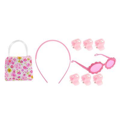 "Набор для девочки ""Цветочки"", 9 предметов: 6 крабов, очки, ободок, сумочка"