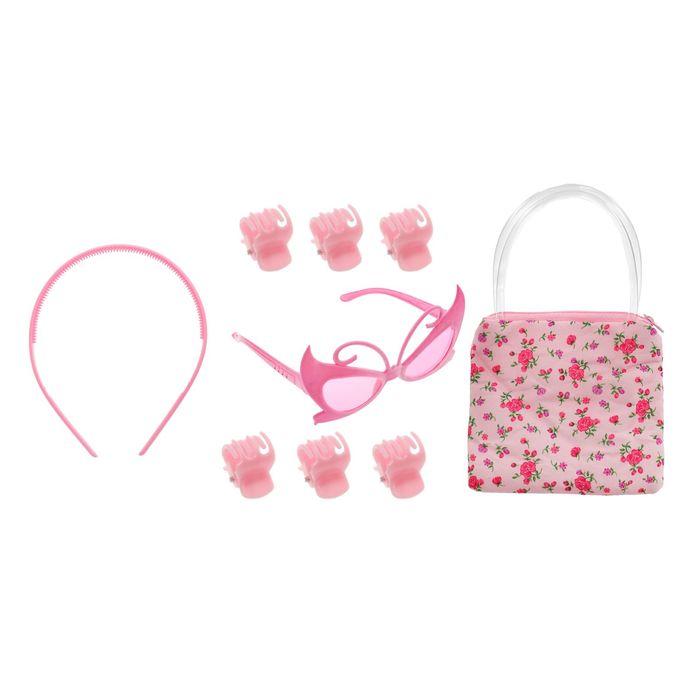 """Набор для девочки """"Цветы"""", 9 предметов: 6 крабов, очки, ободок, сумочка"""