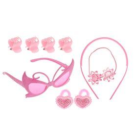 Набор для девочки 'Красотка', 9 предметов: очки, ободок, 3 резинки, 4 краба Ош