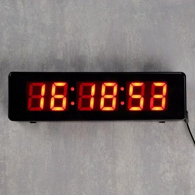 Часы настенные электронные, цифры красные 9х32 см