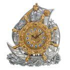 """Часы настенные """"Кораблик на волнах"""", хром и позолота"""