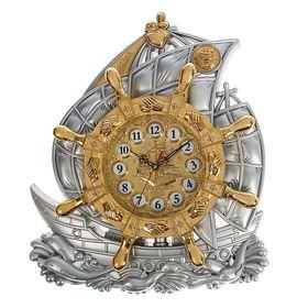 Часы настенные 'Кораблик на волнах', хром и позолота Ош