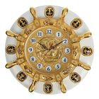 "Wall clock ""Golden helm to white circle"", d=50 cm"