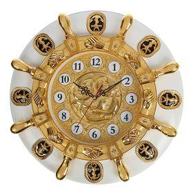 Часы настенные 'Золотой штурвал на белом круге', d=50 см Ош