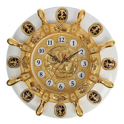 """Часы настенные """"Золотой штурвал на белом круге"""", d=50 см"""
