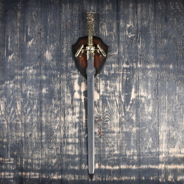 Сувенирное оружие на планшете «Меч», рукоятка под золото