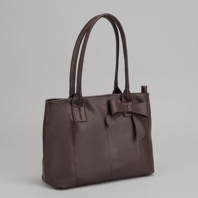 Сумка женская на молнии, 1 отдел с перегородкой, наружный карман, цвет коричневый