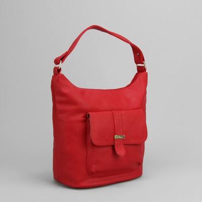 Сумка женская на молнии, 1 отдел, 2 наружных кармана, цвет красный