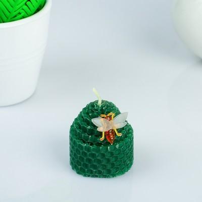 Свеча из вощины 4,5х5см, зелёная