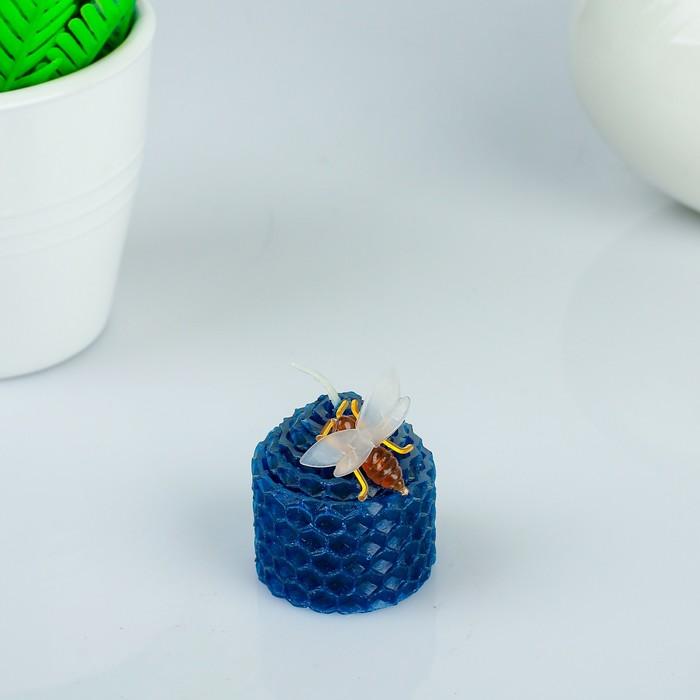Свеча из вощины 3,5х4,5см, синяя