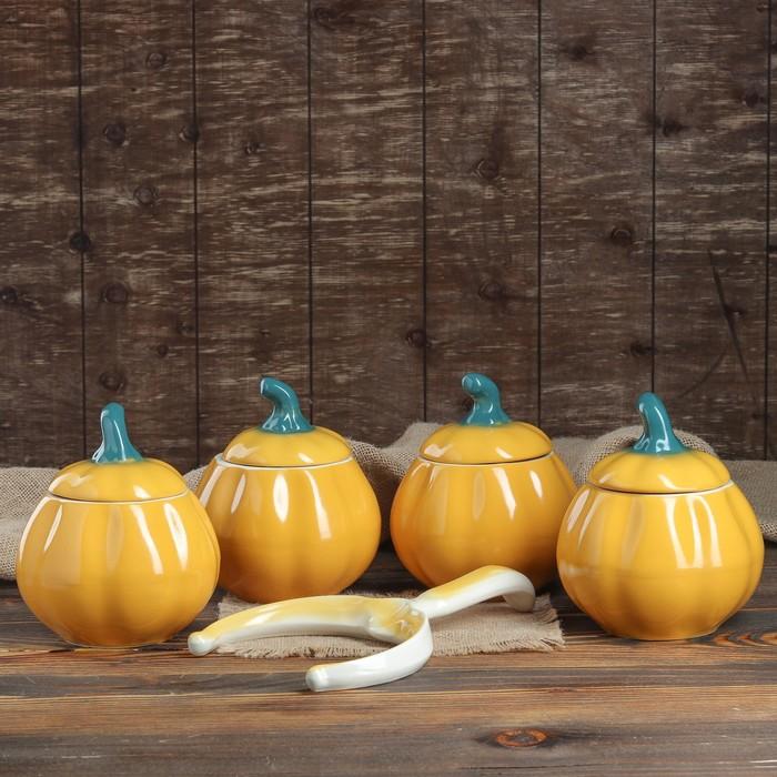 """Набор для жаркого """"Тыква"""", цвет желтый, 5 предметов: 4 горшка 0.8 л, рогач,"""
