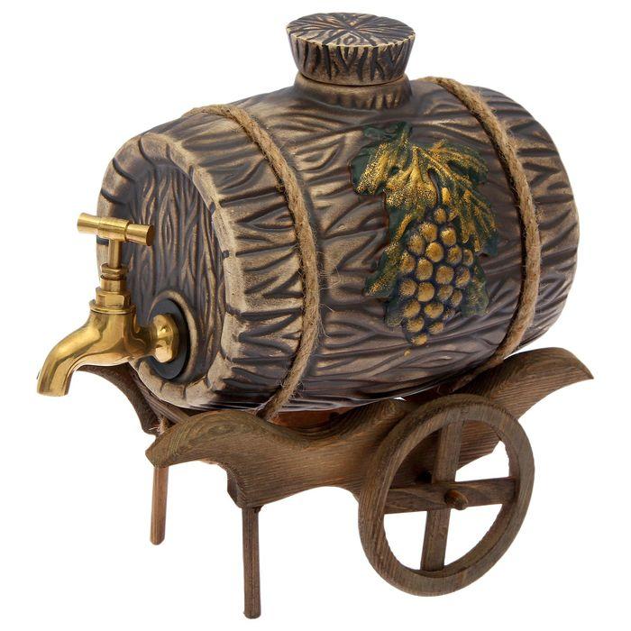 "Бочка на деревянной повозке ""Виноград"" 2,5 л, латунный кран"