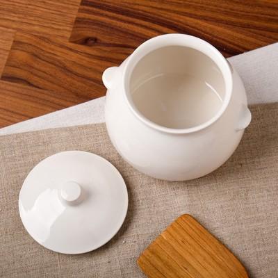 """Горшок для запекания """"Капля"""", глянец, белый цвет, 0,6 л"""