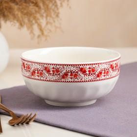 Салатник белый с деколью, красная роспись, 0,7 л