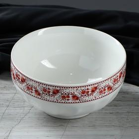 Салатник белый с деколью, красная роспись, 1.1 л