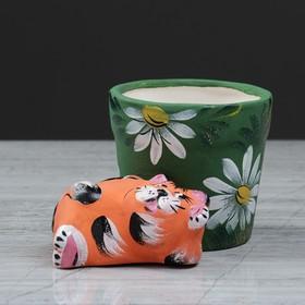 Горшок для цветов 'Кот лежебока' 8,5 см, микс Ош