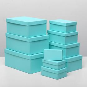 "Набор коробок 10в1 ""Бирюзовый однотонный"", 30,5 х 20 х 13 - 12 х 6,5 х 4 см"