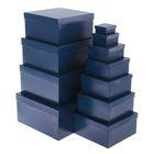 "Набор коробок 11в1 ""Синий однотонный"", 25,5 х 25,5 х 13 - 5,5 х 5,5 х 2,5 см"