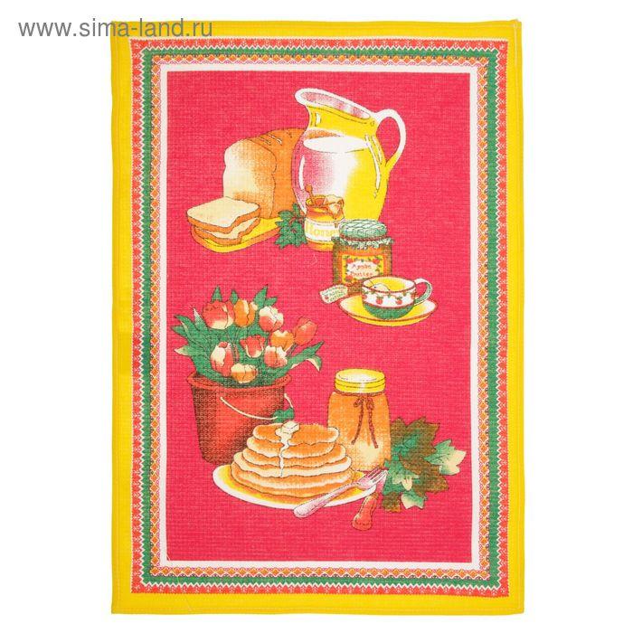 Полотенце вафельное «Блинчики», цвет красный, размер 48х63 см