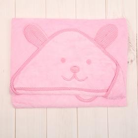 Уголок махровый с капюшоном и вышивкой, цвет розовый, размер 90х90 см