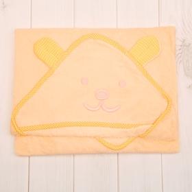 Уголок махровый с капюшоном и вышивкой, цвет жёлтый, размер 90х90 см