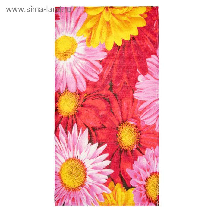 Полотенце вафельное «Ромашки», цвет красный, размер 38х73 см