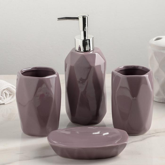"""Набор аксессуаров для ванной комнаты, 4 предмета """"Изящный стиль"""", цвет МИКС"""