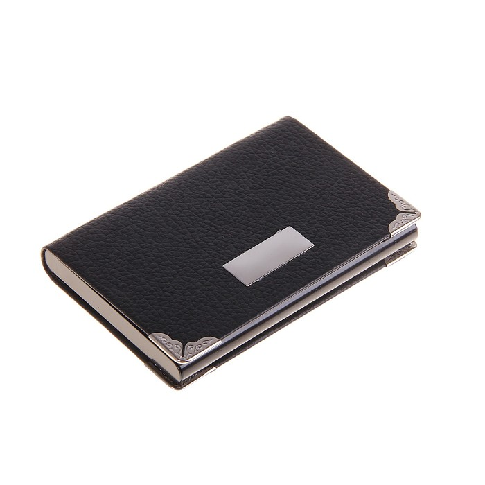 Визитница с металлической вставкой и уголками, цвет черный, горизонтальная