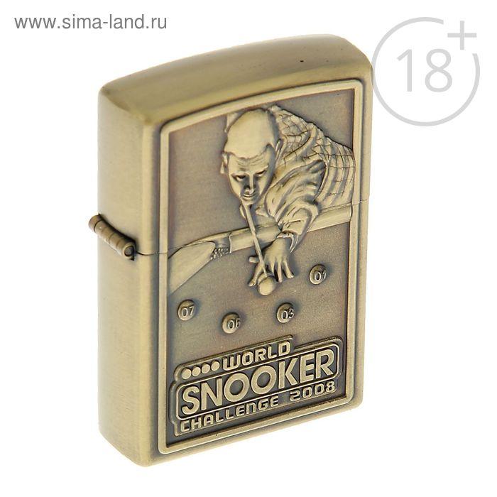 Зажигалка «Любителю бильярда» в металлической коробке, кремний, бензин, 6x8 см