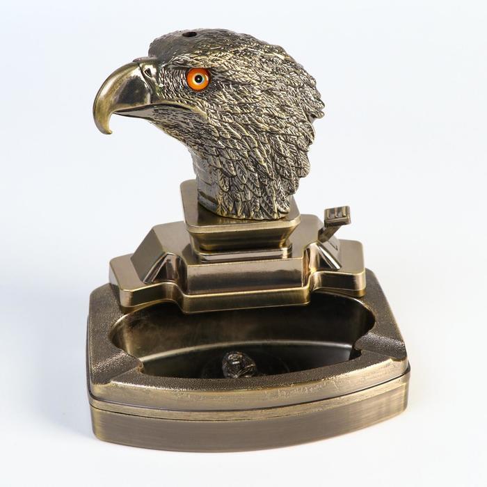 Зажигалка с пепельницей «Бюст орла», настольная, газ 11х13 см