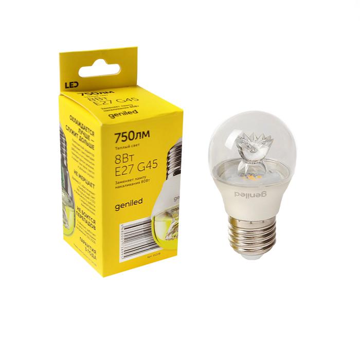 Светодиодная лампа Geniled, E27, G45, 8 Вт, 2700 К, линза, теплый белый